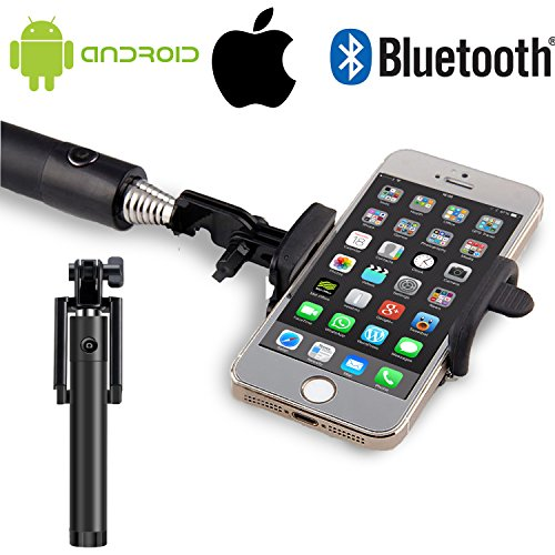 Selfie Stick [Okum] Bluetooth Wireless U-shape Self Portrait Extendable Selfie Stick [Compact and Portable] for Iphone, Iphone 6, Iphone 5s, Samsung Galaxy S6 S5, Android