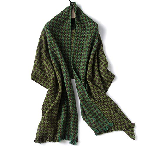 AXIANQI Female Autumn and Winter European and American Style Wool Shawl Thick Warm Wild Green Brown Houndstooth Scarf 60200CM (Color : Green, Size : 60200CM) ()