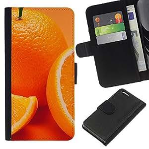 YiPhone /// Tirón de la caja Cartera de cuero con ranuras para tarjetas - Anaranjado lindo - Apple Iphone 5C