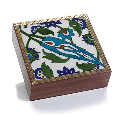 The Crabby Nook Blue Floral Tile Decorative Boxes Home Decor Keepsake Box Shesham Wood Lined Interior