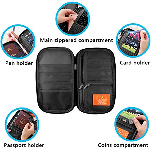 Passport Wallet, Travel Wallets, Passport Holder With Hand Strap, Stylish Credit Card Wallet For Men & Women, Trip Document Organizer Fits Your Phone And Tickets, by VanFn P.Travel Series (Black) by VanFn (Image #3)