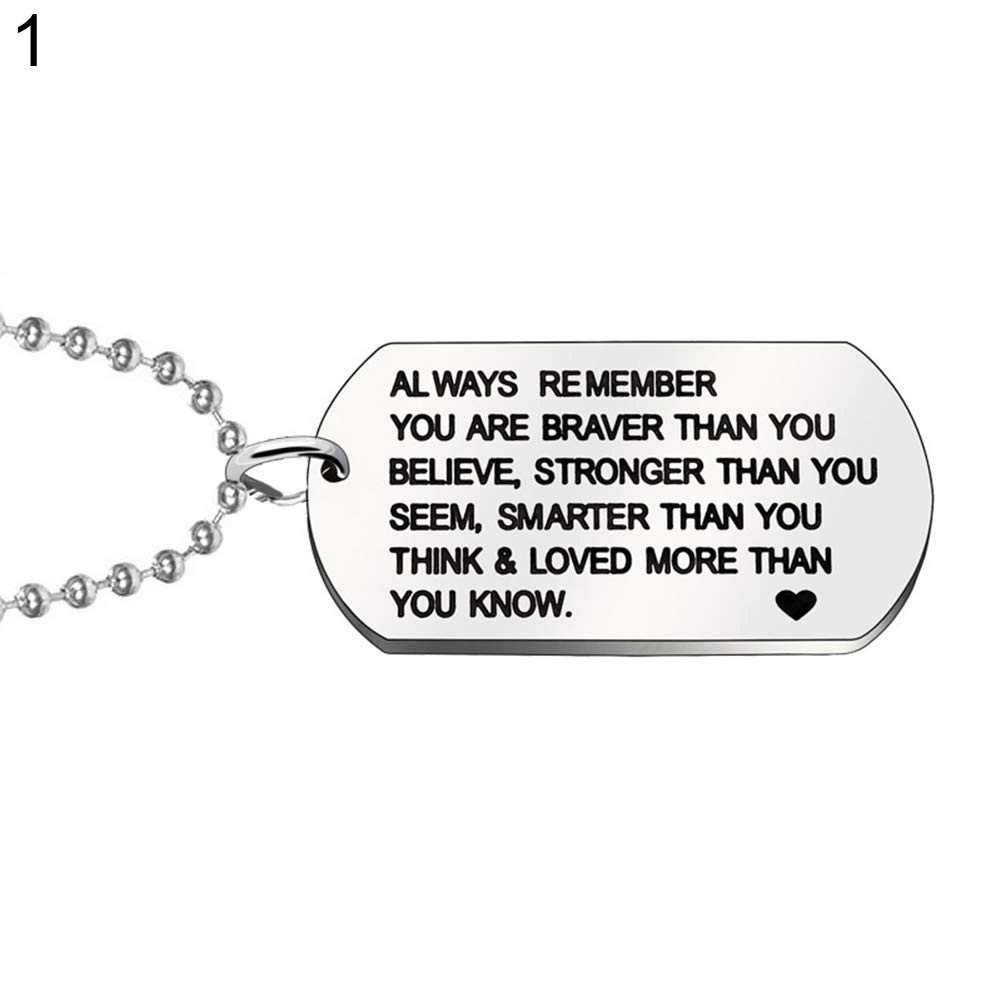 ywbtuechars 1Pc Stainless Steel Keychain Fashion Dog Tag Letters Pendant Necklace Keyring - Necklace