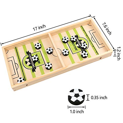 Tanzfrosch Fast Sling Puck Game Foosball Winner Wooden Hockey Board Game Table Desktop Sport Game Toy for Family Adults and Kids