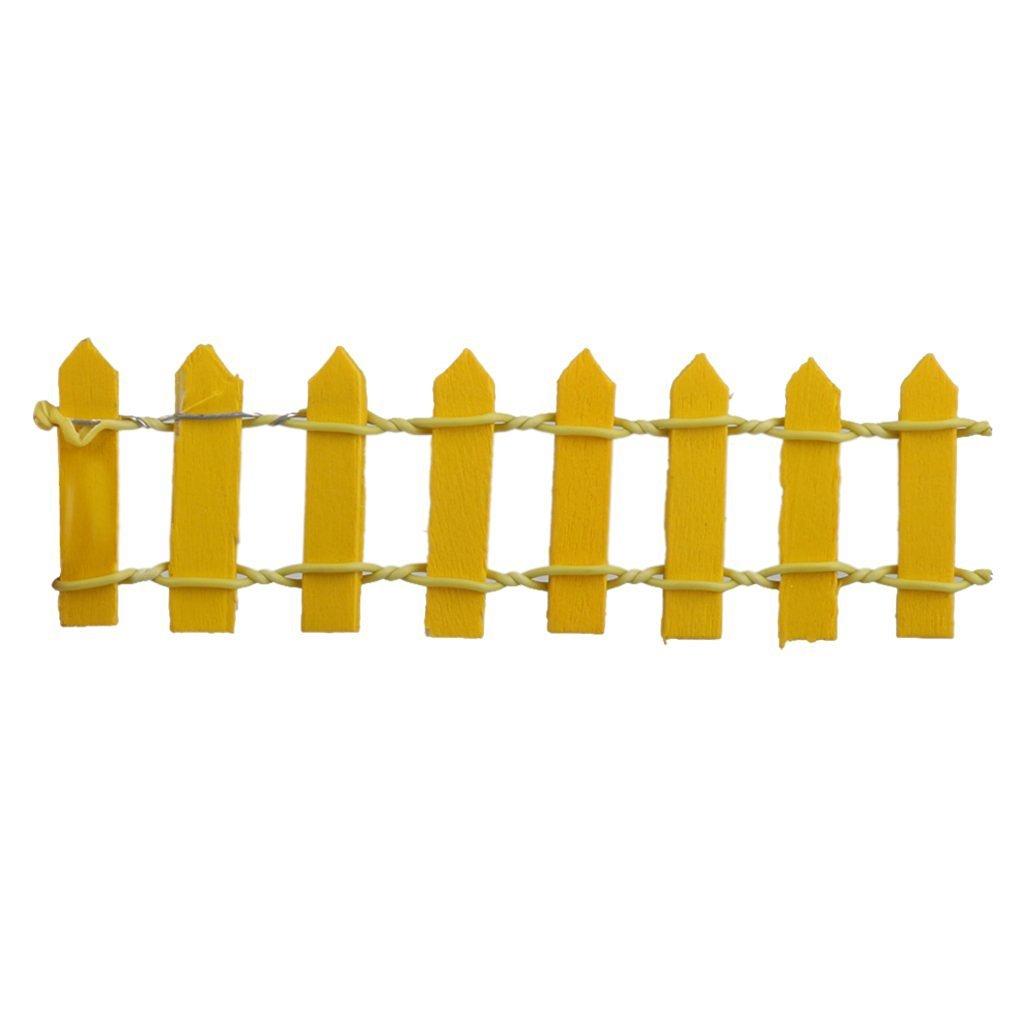 tfrdertuuigf de madera Mini macetas de valla de jardín decoración (amarillo)