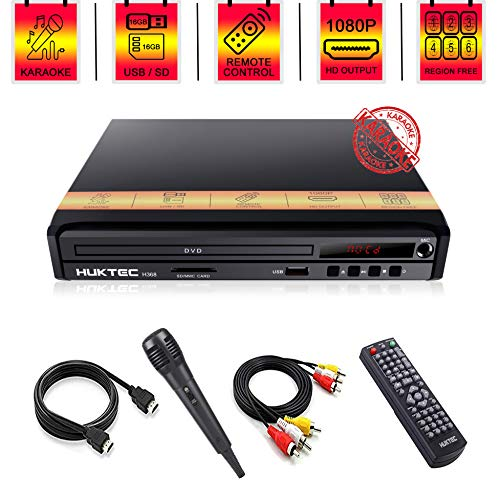 DVD Player, Home DVD Players for TV Region Free DVDs 1080p Full HD Compact CD/DVD Player with Karaoke Microphone, Muti-Functional Player AV+HDMI Cable/ Remote Control/Microphone Included