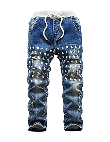 HOLLAGLEE Star Ripped Skinny Boys Jeans Slim Fit Pants For Toddlers Kids and Teens (12-13 Years, Blue 2)
