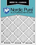 Nordic Pure 20x25x1M14+C-2 MERV 14 Plus Carbon AC Furnace Filter 20x25x1 Merv 14 Plus Carbon AC Furnace Filters Qty 2