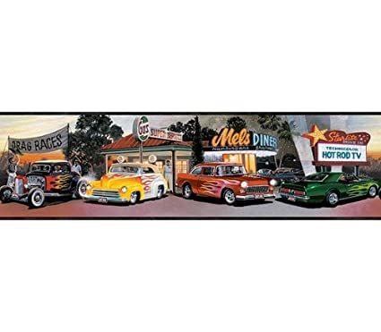 Mel S Diner Cars Wallpaper Border Chevy Ford Flames Muscle Cars