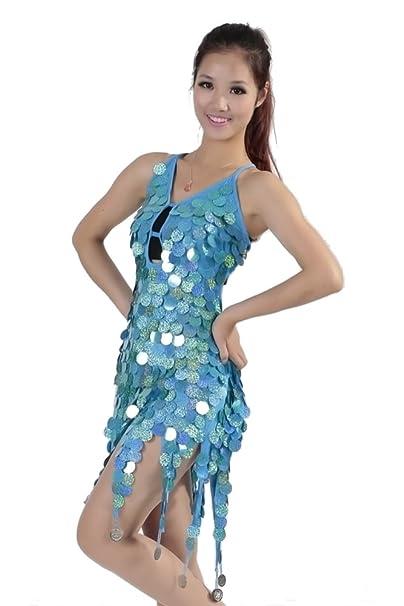 XFentech Mujer Salsa Tango Flamenco Dancing Sequins Latin Elegantes vestidos de baile (Azul)