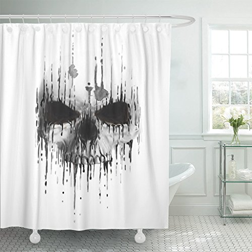 Emvency Fabric Shower Curtain Curtains with Hooks Tattoo Skull Scary Human Face Horror Artwork Death Devil Halloween Drawing Skeleton Evil Watercolor 72