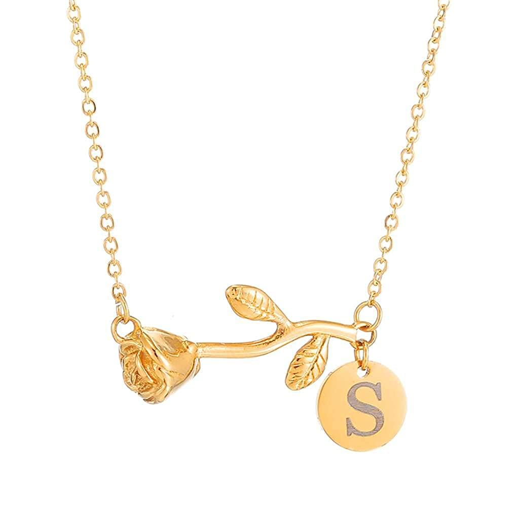 08ff41f039a67 SKQIR Personalized Custom Rose Flower Letter Initial Necklace for Women Any  Name Bar Pendant Necklaces Jewelry Chain