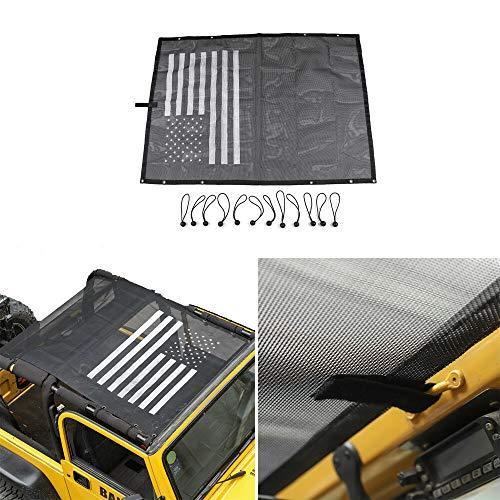 RT-TCZ Jeep Wrangler TJ US Flag Durable Polyester Mesh Shade Top Cover Provides UV Sun Protection for 1997-2016 Jeep Wrangler TJ Original Black And White - Mesh Sun Cover