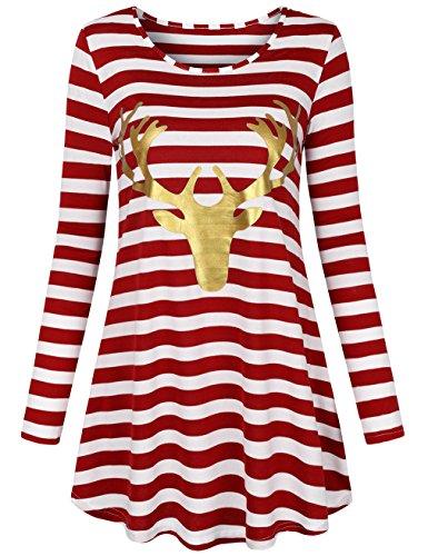 MOOSUNGEEK Christmas Shirt, Christmas Pullover Xmas Santa Claus Print Striped Top Xmas Top