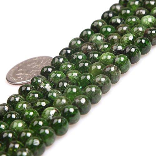 "JOE FOREMAN 6mm Green Diopside Semi Precious Gemstone Round Loose Beads for Jewelry Making AAA Grade DIY Handmade Craft Supplies 15"" 63-66 Pcs"