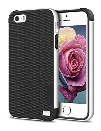 EXSEK iPhone 5/5S SE Case, Hybrid Ultra Slim 3 Color Case Shockproof [Anti-Slip] [Extra Front Raised Lip] Scratch Resistant Soft Gel Bumper Rugged Case for iPhone 5/5S (Black + White)