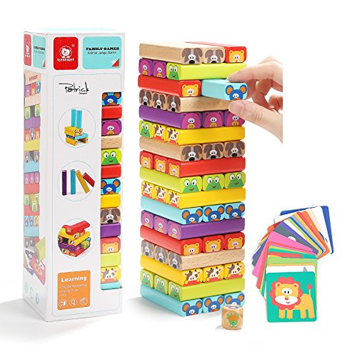 Stacking Games Blocks for Kids - 51 Pieces Colorful Wooden Building Blocks by TOP BRIGH