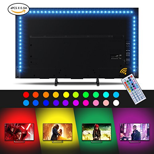 LED Strip Lights, Sunix 6.6ft RGB Bias Lighting for 40-60 inch HDTV,USB LED TV Backlight Kit with Remote - 20 Colors and 4 Dynamic Mode (4pcs x 50cm LED Strips) [Energy Class A+] by Sunix