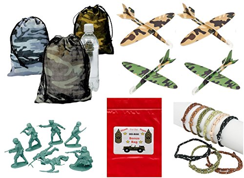 156 pc Military Army Birthday Party Favor Bundle Pack Boy's Camouflage (12 Camouflage Drawstring Gift Bags, 72 Rope Bracelets, 48 Army Men Toys, 24 Airplane gliders & Bonus Bag)