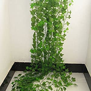 FYYDNZA 2.4M Artificial Ivy Green Leaf Garland Plants Vine Fake Foliage Flowers Home Decor Plastic Artificial Flower Rattan String 41