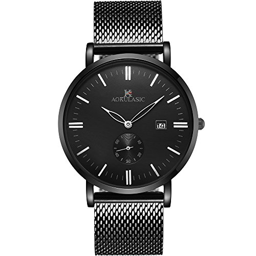 (Watch,Watches Men Black, Mesh Stainless Steel Classic Luxury Business Casual Watches Waterproof Casual Analog Quartz Dress Wrist Watch With Calendar)