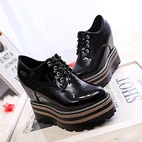 Hohen Neue Schuhe Englischen Dick KHSKX Herbst Allen Leder Koreanische black Mit Studentinnen Im In Mit Plateauschuhe Flut I6vq7wvHxR