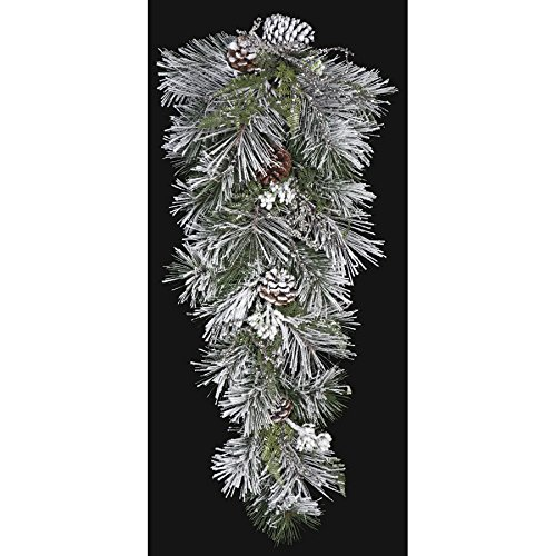 32'' Artificial Flocked Long Needle Pine & Pinecone Teardrop Swag -White/Green (pack of 2)