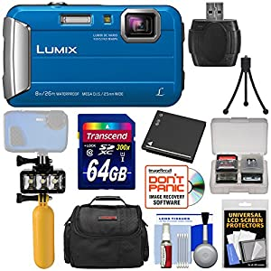 Panasonic Lumix DMC-TS30 Tough Shock & Waterproof Digital Camera (Blue) with 64GB Card + Battery + Diving LED Video Light + Buoy Handle + Case Kit