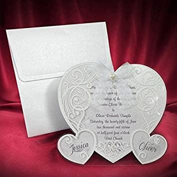 Amazon.com: Laser cut wedding invitation card love Heart with ...