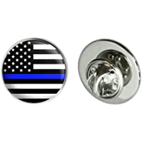 """Graphics and More Thin Blue Line American Flag Metal 0.75"""" Lapel Hat Pin Tie Tack Pinback"""