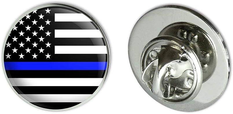 Thin Blue Line American Flag Metal Rectangle Lapel Hat Pin Tie Tack Pinback