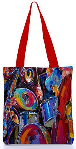 Snoogg Drum and Bass Malerei 13.5 x 15 Zoll-Shopping-Dienstprogramm-Einkaufstasche aus Polyester-Segeltuch gemacht