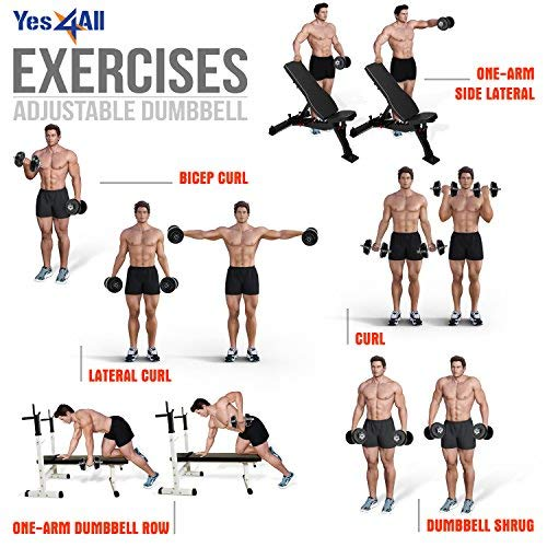 Yes4All Adjustable Dumbbells - 200 lb Dumbbell Weights (Pair) by Yes4All (Image #7)