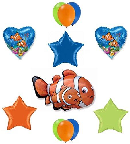 12 Piece FINDING NEMO Marlin Orange Black Clown Fish Birthday Party Latex and Mylar Balloons Set