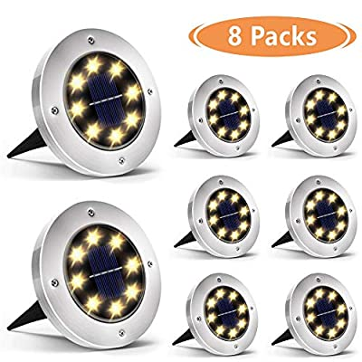 Biling Solar Disk Lights Outdoor, 8 LED Bulbs Solar Ground Lights Outdoor Waterproof for Garden Yard Patio Pathway Lawn Driveway - Warm White (8 Pack)
