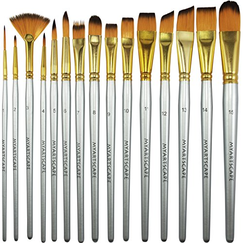 Paint Brush - Set of 15 Art Brushes for Watercolor, Acrylic & Oil Painting - Short Handles by MyArtscape