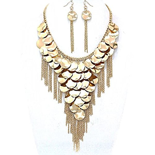 Glam Gold Circle Charms Chain Link Layered (Layered Circle Link Necklace)
