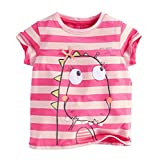 Coralup Little Girls Cute Dinosaur Pink Striped Tee Tops T2007(Pink,6-7 Years)