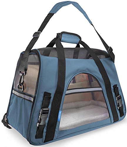 Pet Carrier Soft Sided Large Cat / Dog Comfort Mineral Blue Bag Travel Approved