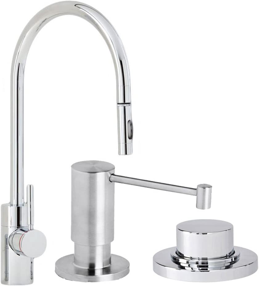 Waterstone 5400-3-SS Parche Single Handle Kitchen Faucet with Pull Out Spray, Soap Dispenser and Air Switch, Solid Stainless Steel
