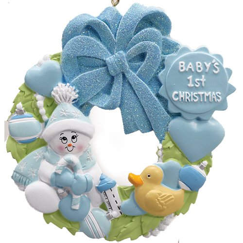 Grandson Hallmark Ornament - Personalized Baby's 1st Christmas Wreath Ornament for Tree 2018 - Snowman in Blue Glitter Hat holds Candy-Cane with Toys - Heart Boy's Love New Mom Shower Duck Grandson - Free Customization (Blue)