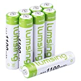 Lumsing AAA Rechargable Batteries 8-Pack 1100mAh Ni-MH With Battery Storage Box