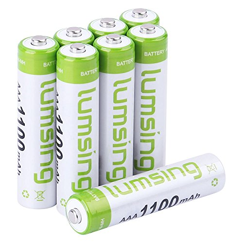 Lumsing AAA Rechargeable Batteries 8-Pack 1100mAh Ni-MH With Battery Storage Box