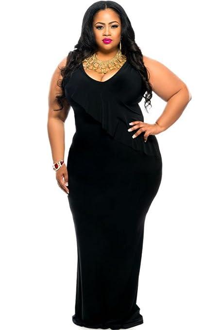 Nueva mujer Plus color negro Reversible moviepostersdirect volantes y pedrería vestido de fiesta vestido desgaste talla