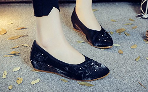 Womens Toe Black Pointed AvaCostume Heel Plain Embroidery Shoes Wedge Luxury zIxzdq