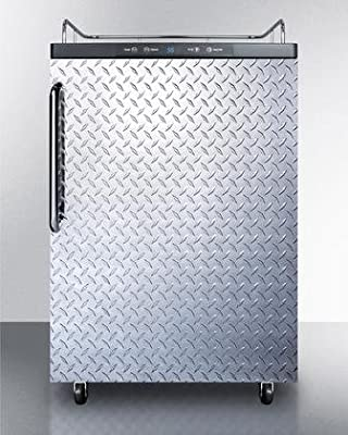 Summit SBC635MNKDPL Commercial 5.7 cu. ft. Freestanding Beer Dispenser with Diamond Plated Door No Tap Auto Defrost and Digital