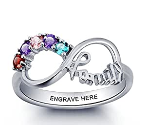 Personalized Mothers Ring with 5 Birthstones and 1 Engraving Size 6