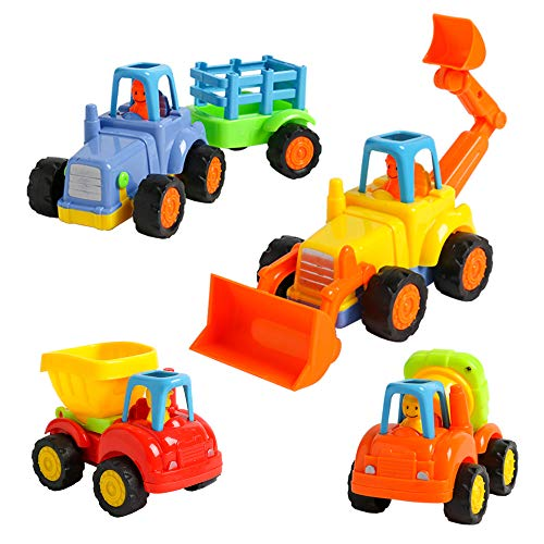 USATDD 4 Pack Friction Powered Cars,Push and Go Vehicles Car Tractor Bulldozer Cement Mixer Truck Dumper Construction Toys Set for 1 2 3 Year Old Boy Girl Toddler Baby Kid Boy Girl Gift