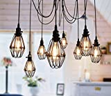 Vintage Ceiling Lamp, SUN RUN Hanging Lighting Edison Multiple Adjustable DIY Ceiling Spider Lamp Light Metal Wire Cage Pendant Lighting Chandelier Modern Chic Industrial Dining Light (12 head)