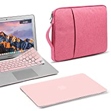 GMYLE 3 in 1 Bundle Rose Quartz Soft-Touch Frosted Hard Case for Macbook Air 13 inch (A1369/A1466), Water Repellent Laptop Sleeve with Handle and Rose Quartz Silicon Keyboard Cover [US layout]