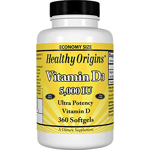 Healthy Origins Vitamin D3 5,000 IU (Non-GMO), 360 Softgels - 5000 Iu 360 Softgels